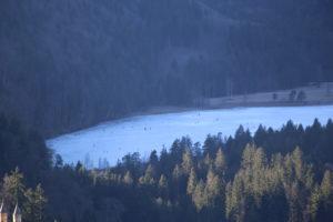 Pattinatori sul laghetto ghiacciato.