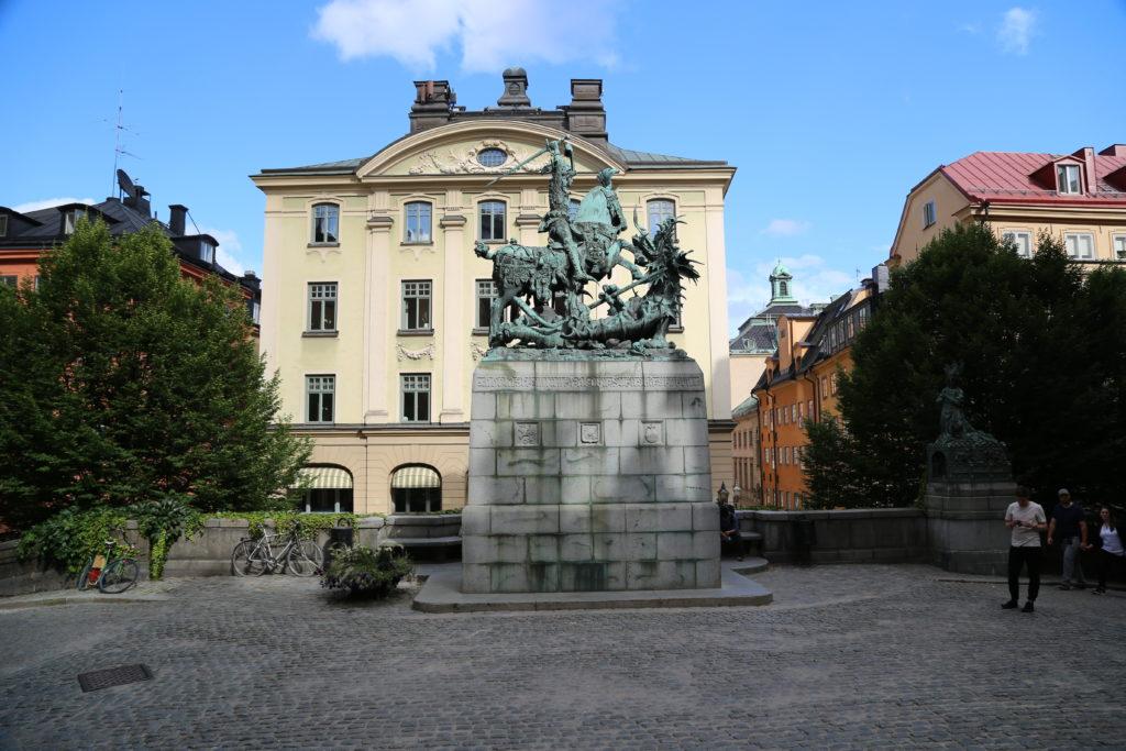 Stoccolma, statua a San Giorgio.