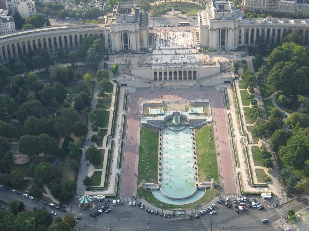 Il Trocadero visto dalla cima della Torre Eiffel.