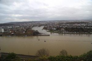 La Mosella si immette nel Reno, panorama dalla Fortezza.